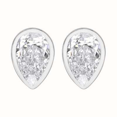 Perfection Crystals Single Stone Rubover Pear Stud Earrings (1.50ct) E3933-SK