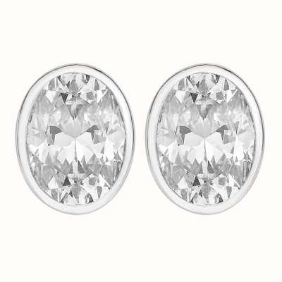 Perfection Swarovski Single Stone Rubover Oval Stud Earrings (2.50ct) E3936-SK