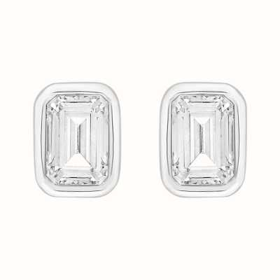 Perfection Swarovski Single Stone Rubover Emerald Stud Earrings (1.00ct) E4045-SK