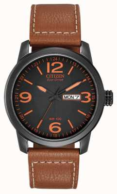 Citizen Mens Eco-Drive | Chandler Military Brown Leather BM8475-26E