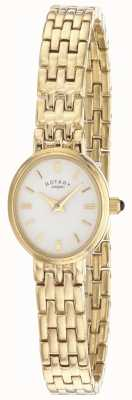 Rotary Womens Gold Plated Bracelet Oval Dial LB02084/02