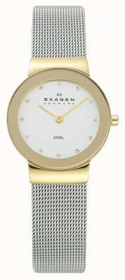 Skagen Womens Watch | Gold Tone Case | Silver Mesh Bracelet | 358SGSCD