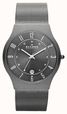 Skagen Mens Grey Titanium Case Mesh Strap Watch 233XLTTM