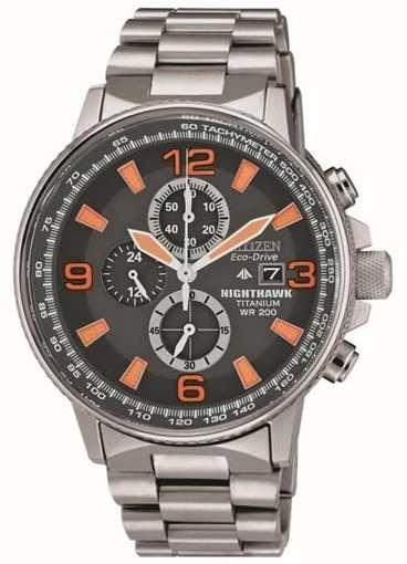 Citizen Mens Nighthawk Titanium Black Orange Dial Chronograph