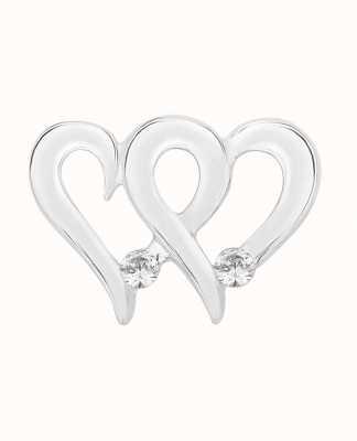 Perfection Swarovski Double Heart Pendant With Single Stones (0.10ct) P5528-SK