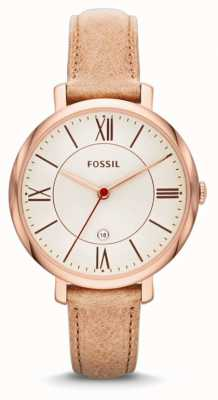 Fossil Womens' Jacqueline Rose Gold Beige Strap Watch ES3487