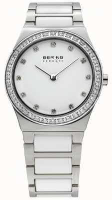 Bering Womens White Ceramic, Crystal Watch 32430-754
