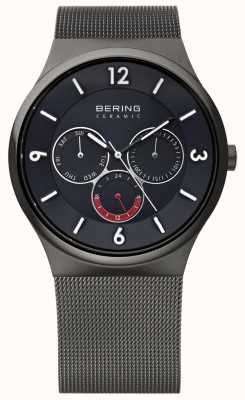 Bering Mens Grey Steel Ceramic Black Dial Mesh Strap Watch 33440-077