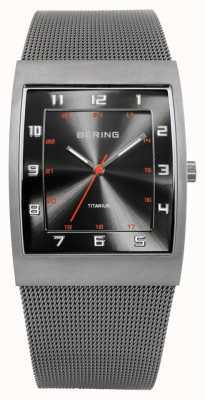 Bering Mens Titanium, Square Dial, Mesh Strap Watch 11233-077