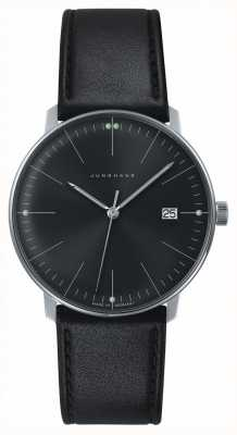 Junghans Mens max bill Quartz Plain Black Dial Black Leather Watch 041/4465.04