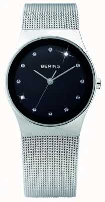 Bering Womens Steel, Black Dial, Crystal Watch 12927-002