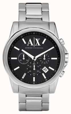 Armani Exchange Mens Smart Stainless Steel Chronograph Black Dial AX2084