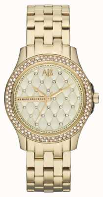 Armani Exchange Womens Smart Gold Plated Bracelet Crystal Set AX5216