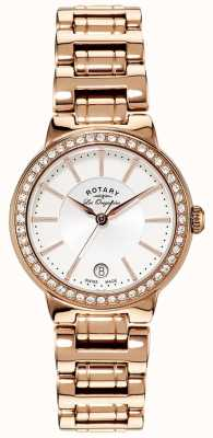 Rotary Womens Les Originales Gold Plate Crystal Set Watch LB90085/02L