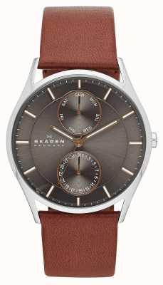 Skagen Mens Holst Brown Leather Strap Watch SKW6086