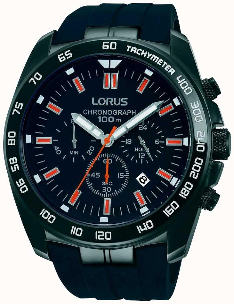 Lorus Mens Black Chronograph Watch Rt327ex9 First Class Watches Aus