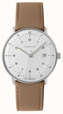 Junghans Men's Max Bill White Dial Beige Leather Watch 041/4562.04