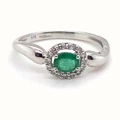 9k White Gold Emerald Diamond Ring JM6414