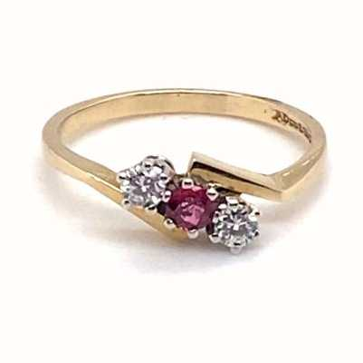 9k Yellow Gold Diamond Ruby 3 Stone Twist  Ring JM6473