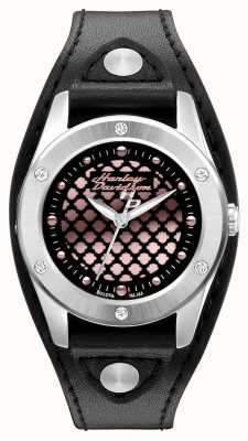 Harley Davidson Black And Rose-gold With Leather Strap 76L163