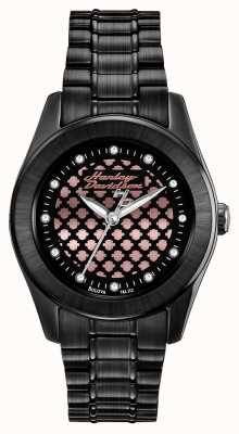 Harley Davidson Black And Rose Womens Gold Watch 78L112