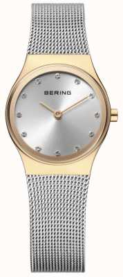 Bering Womens Stainless Steel Mesh Stone Set 12924-001