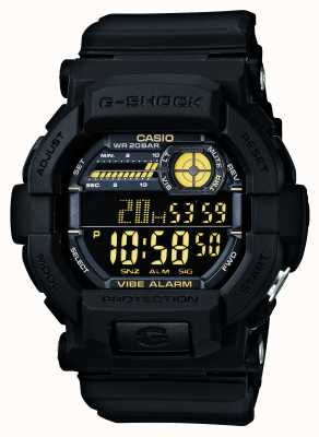 Casio G-Shock Vibrating 5 Alarm Watch Black Yellow GD-350-1BER