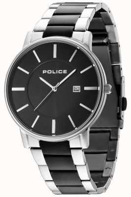 Police Mens London Two Tone Bracelet Black Dial 14496JSTU/02M