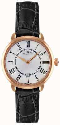 Rotary Ladies Elise Black Leather Strap Watch LS02919/41