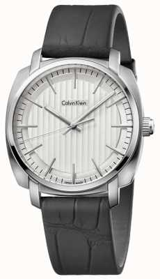 Calvin Klein Mens Highline Black Leather Strap Silver Dial K5M311C6