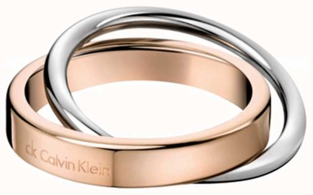 Calvin Klein Coil Stainless Steel Rose Gold Pvd Ring N KJ63BR010107