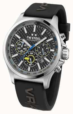 TW Steel Mens VR46 Stainless Steel Black Rubber Strap TW938