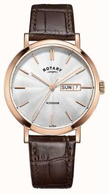 Rotary Mens Brown Leather Strap Rose Gold Plated GS05304/02