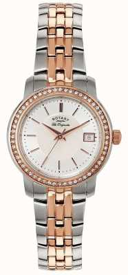 Rotary Womens | Two-Tone Stainless Steel/PVD Strap | Silver Dial | LB90092/41