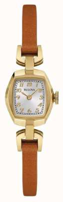 Bulova Womens Brown Leather Strap Rectangle Dial 97L153