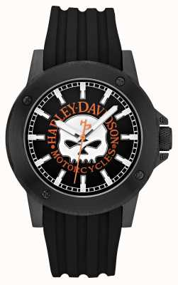 Harley Davidson Mens Leather Black Strap Black Dial 78A115