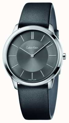 Calvin Klein Mens Minimal Black Leather Strap K3M211C4