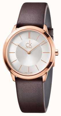 Calvin Klein Men's Minimal Silver Dial Rose Gold Case K3M226G6