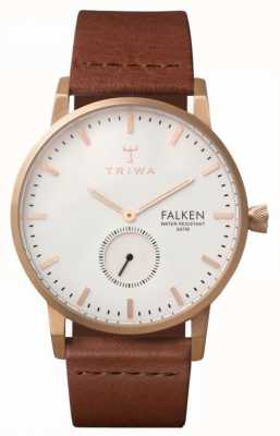 Triwa Unisex Falken Brown Leather Strap White Dial FAST101-CL010214