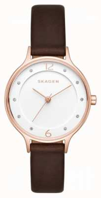 Skagen Womens Anita Brown Leather Strap White Dial SKW2472