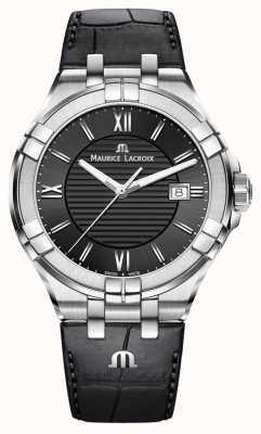 Maurice Lacroix Mens Aikon Black Leather Strap Black Dial AI1008-SS001-330-1
