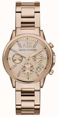 Armani Exchange Womans Rose Gold Chronograph Dial Rose Gold Metal Strap AX4326