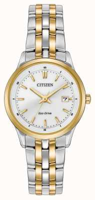 Citizen Ladies Stainless Steel & Gold IP Silver Dial Watch EW2404-57A