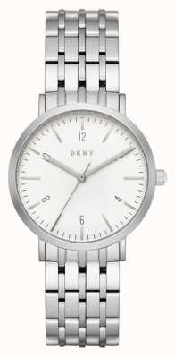 DKNY Womans Stainless Steel Silver Mesh Strap Round White Dial NY2502