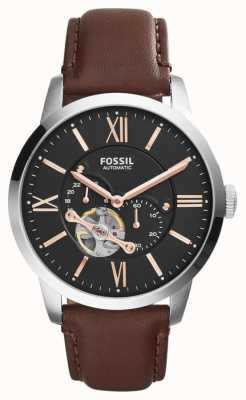 Fossil Mens Brown Leather Strap Black Chronograph Dial ME3061