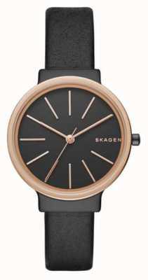 Skagen Womans Slim Black Leather Strap Black Dial SKW2480