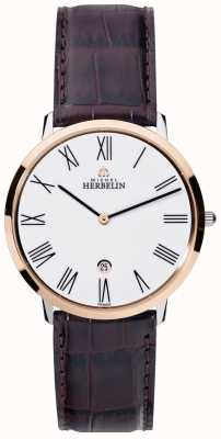 Michel Herbelin Mens Ikone Grande Brown Leather Strap White Dial 19515/TR01MA