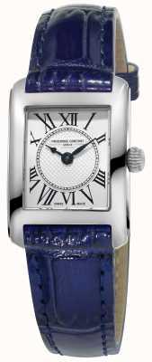 Frederique Constant Women's Carree Blue Leather Strap Silver Dial FC-200MC16