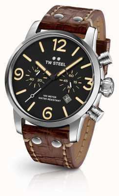 TW Steel Mens Maverick Chronograph Brown Leather Strap Black Dial MS3