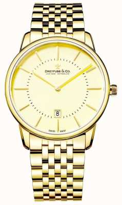 Dreyfuss Mens Gold Bracelet With Date | Gold face | DGB00136/03
